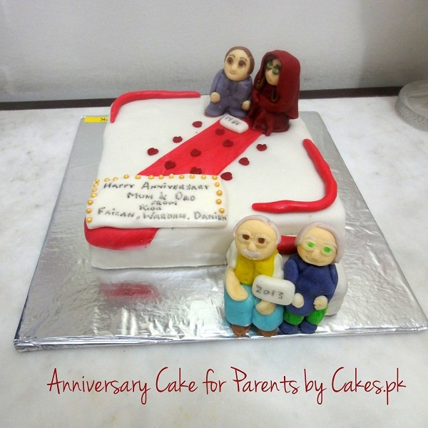 Cake Ideas For Parents Anniversary : 3D Wedding Anniversary Cake Cakes.pk