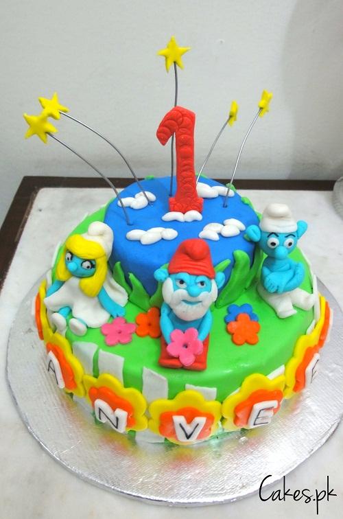 Amazing Smurfs First Birthday Cake Cakes Pk Funny Birthday Cards Online Overcheapnameinfo