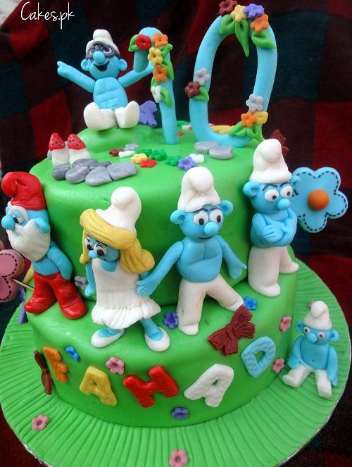 Swell Smurfs Themed Kids Birthday Cake Cakes Pk Funny Birthday Cards Online Overcheapnameinfo