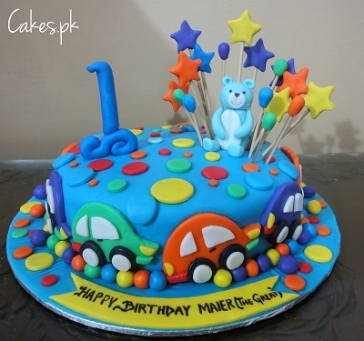 Awe Inspiring Colorful First Birthday Cake For Boys Cakes Pk Funny Birthday Cards Online Elaedamsfinfo